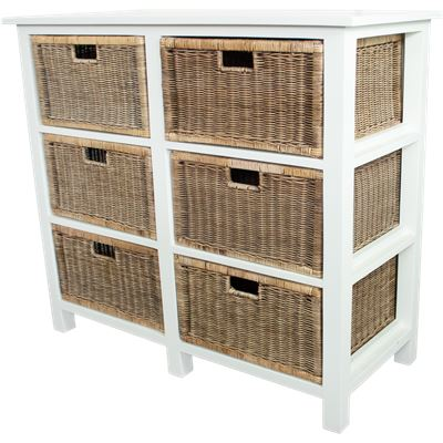 Rattan Weave 6 Drawer Storage White