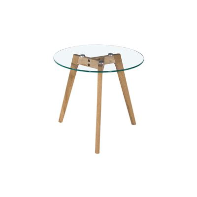 Astrid Side Table Glass & Oak Small