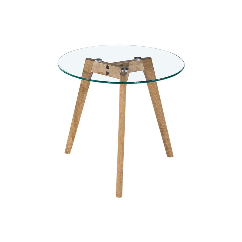 Astrid Side Table Glass & Oak Large