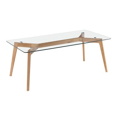 Astrid Coffee Table Glass & Oak 120cm