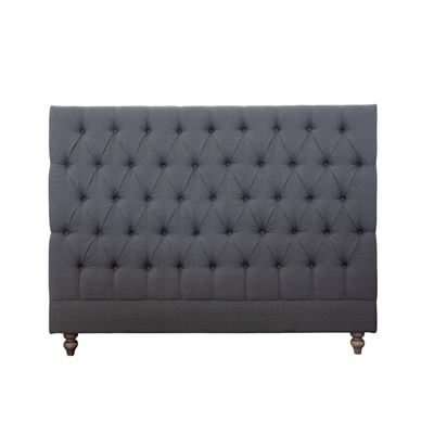Double Bed Head Studded Grey
