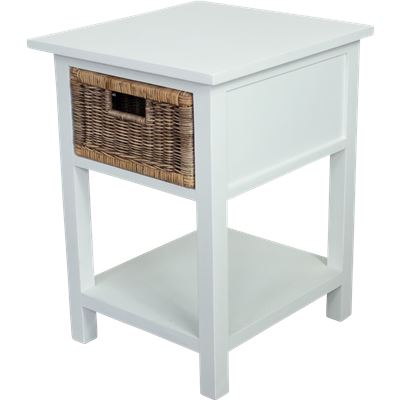 Rattan Weave 1 Drawer Bedside Table White