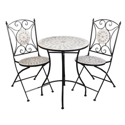 Mosaic Bistro Setting 3 Piece White Flower