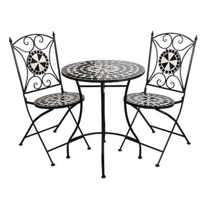 Mosaic Bistro Setting 3 Piece Black & White