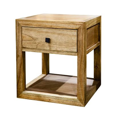 Bedside One Drawer Natural Wood 40x45cm
