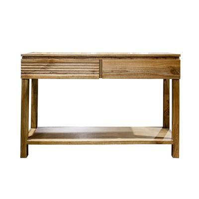 Console 2 Drawers Natural Wood 120x35x79cm