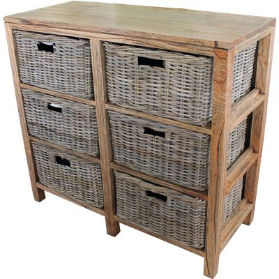 Cambridge Cabinet 6 Drawers Kubu Grey
