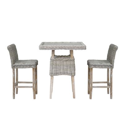 Helena Bar 3 Piece Rattan Set Kubu Grey