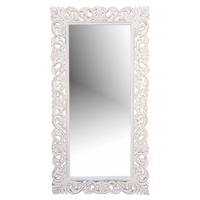 Hand Carved Mirror Antique White 90x122cm