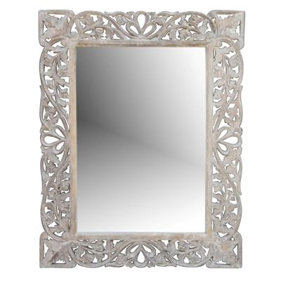 Hand Carved Mirror Wood White 90x122cm