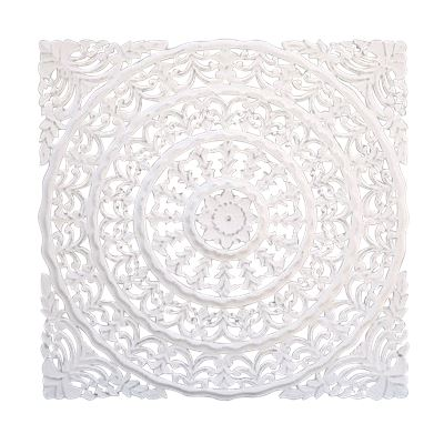 Hand Carved Wall Panel Antq White 121x121cm