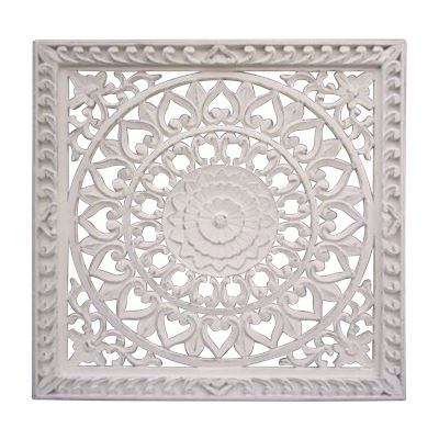 Hand Carved Wall Panel Antq White w/Frame 90x90cm
