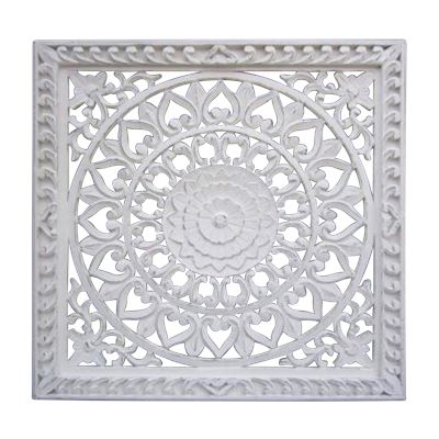 Hand Carved Wall Panel Wood White w/Frame 90x90cm