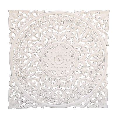 Hand Carved Wall Panel Antq White 90x90cm