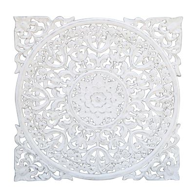 Hand Carved Wall Panel Wood White 90x90cm