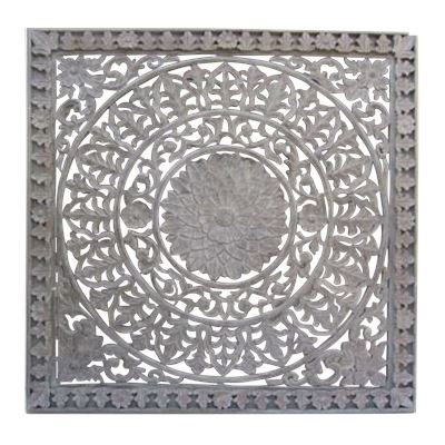 Hand Carved Wall Panel Antq Grey 119x119cm