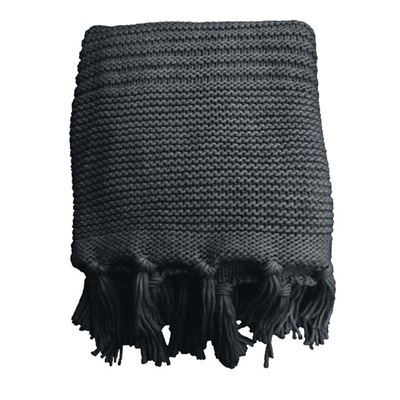Chunky Knit Throw 125x150cm Charcoal