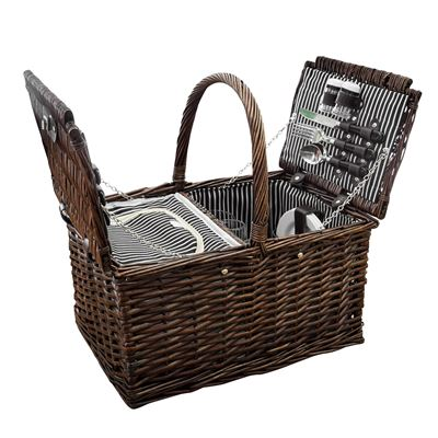 Willow Picnic Basket 4 Person Brown
