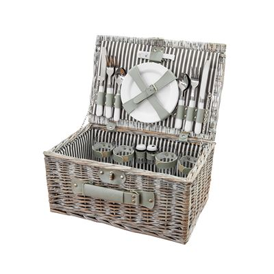 Willow Picnic Basket 4 Person Grey