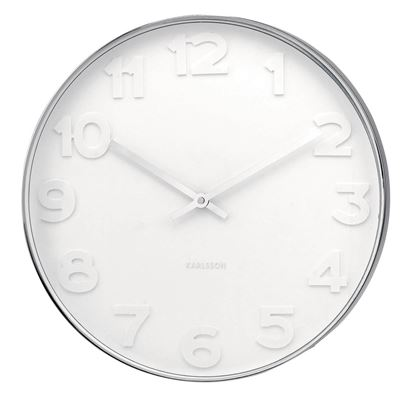Wall Clock Mr. White Numbers Steel - Small