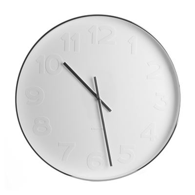Wall Clock Mr. White Numbers Steel - Large