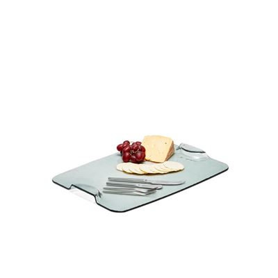 Fromage Glass Platter 40x30cm W/Cheese Knives