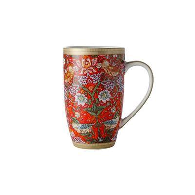 William Morris Strawberry Thief Red Coupe Mug 420ml