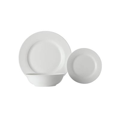 White Basics Euro Rim Dinner Set 18Pc Gb