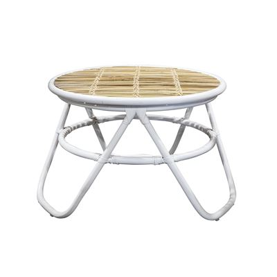 Bamboo Rattan Coffee Table White