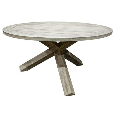 Corfu Dining Table Round 1.7M White Wash