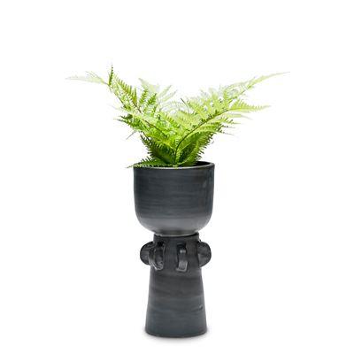 Totem Two Piece Planter Black 14x28cm