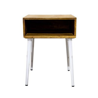 Havana Open Cubby Bedside Table White