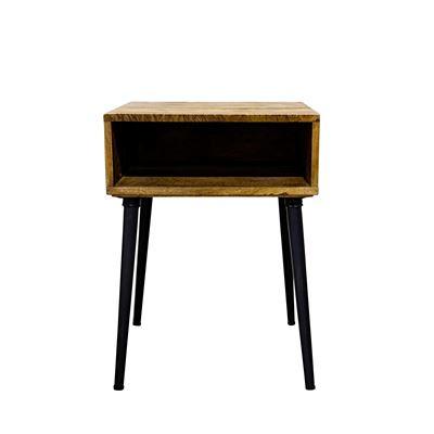 Havana Open Cubby Bedside Table Black