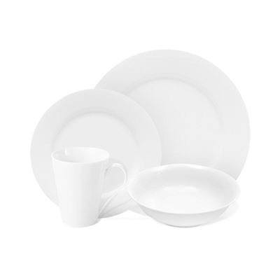White Basics Cosmo Rim Dinner Set 16Pce Gb
