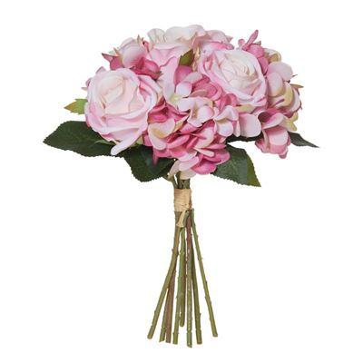 Rose/Hydrangea Bouquet 29cm Pink