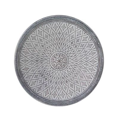 106CM ROUND TADEAS WALL PLAQUE - WHITE WASH
