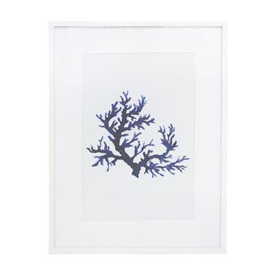 Blue Coral 1 Glass Framed Print - White 60x80cm