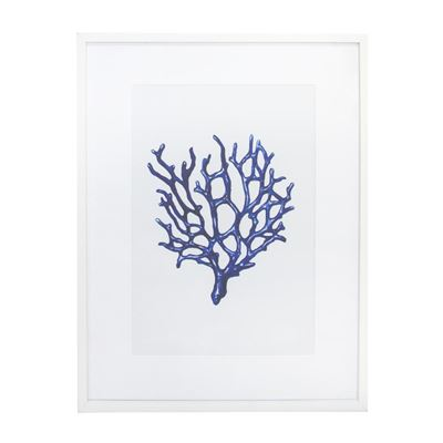 Blue Coral 2 Glass Framed Print - White 60x80cm
