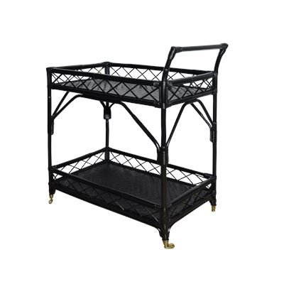 Rio Rattan Bar Cart Black