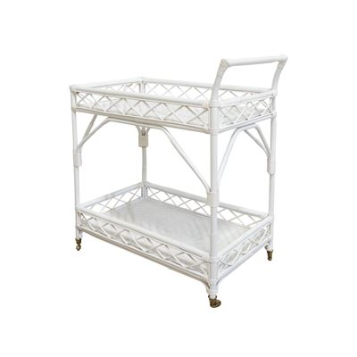 Rio Rattan Bar Cart White