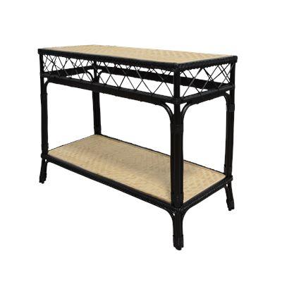 Rio Rattan Console Table Black