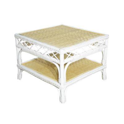 Rio Rattan Side Table White