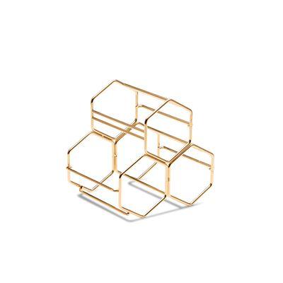 S&P Honeycomb Wine Rack Gold 20.5X15.5X19Cm