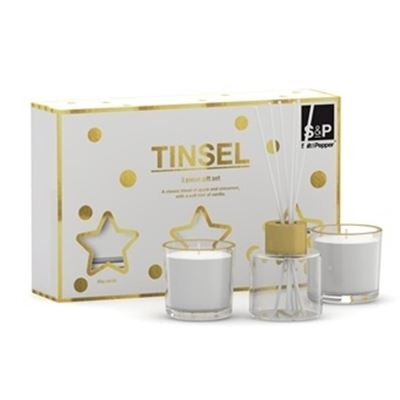 S&P Tinsel Gift Set 2x Candle 1x Diffuser