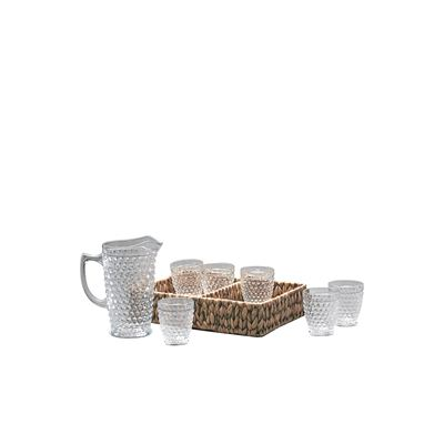 S&P Woven Drinkware Set 8Pc - Jug 1.5L, Tumbler 330Mlx6 W/Basket