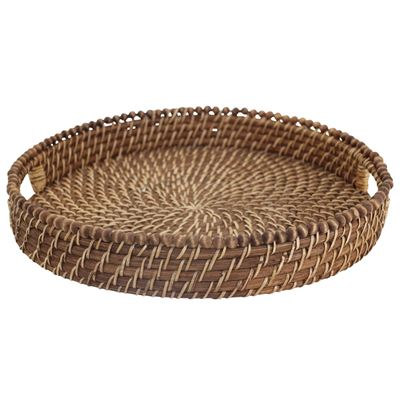 Baya Round Tray with Beads Honey 38x6cm