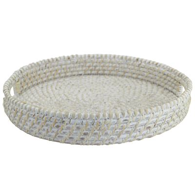 Baya Round Tray with Beads White 38x6cm