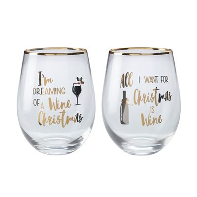 Celebrations Stemless Glass 500Ml Set of 2 Wine Xmas