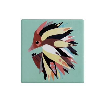 Pete Cromer Ceramic Square Tile Coaster Echidna