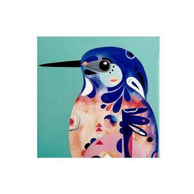 Pete Cromer Ceramic Square Trivet 20cm Azure Kingfisher